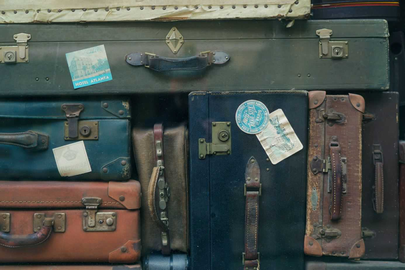 Antique suitcases together