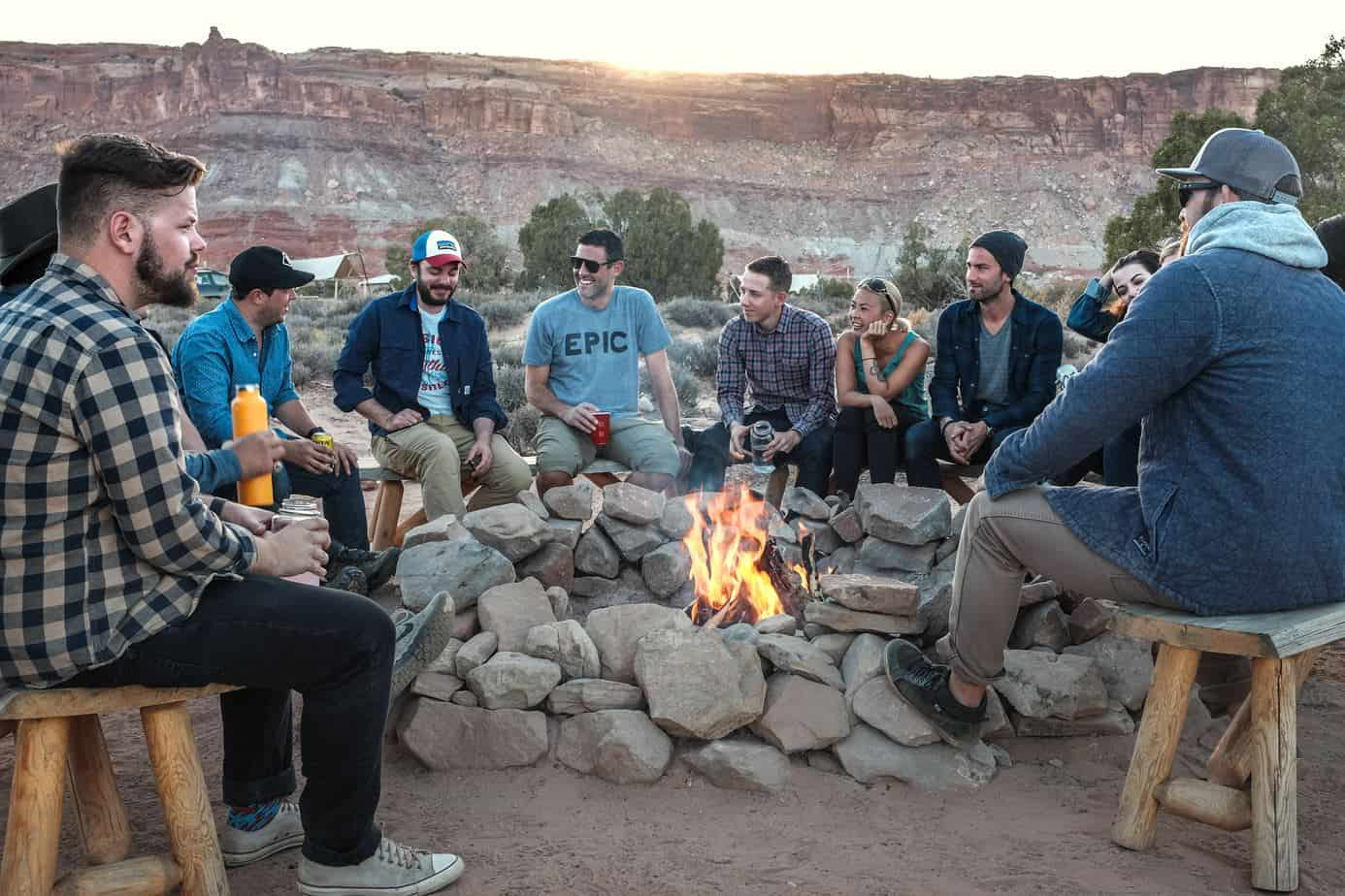 Campfire reunion with friends