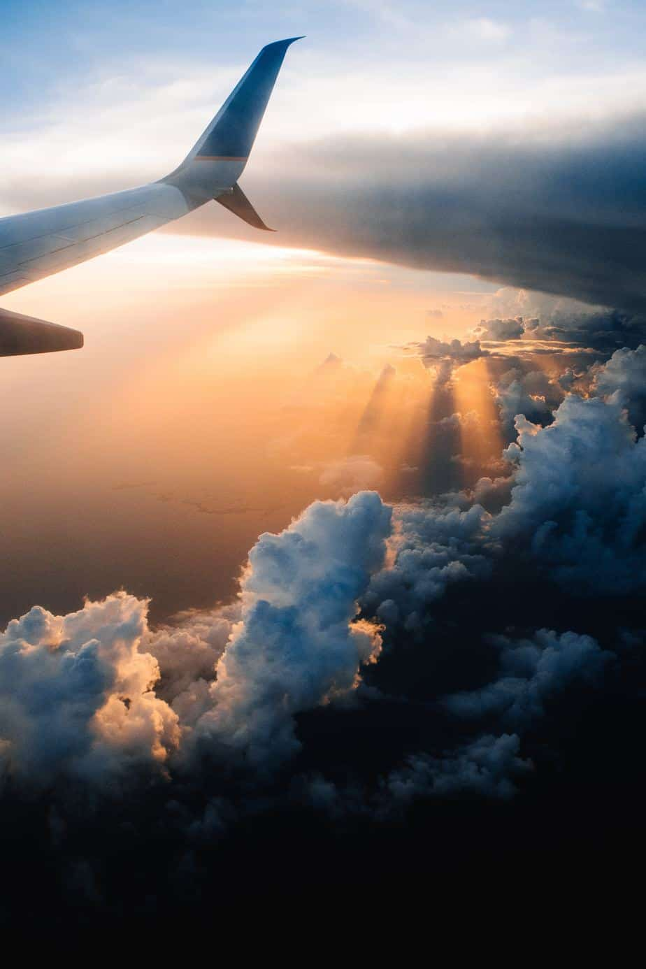 Aerial view of sunset with clouds around