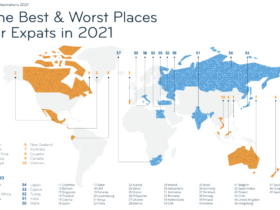 A map of the top expat countries of 2021