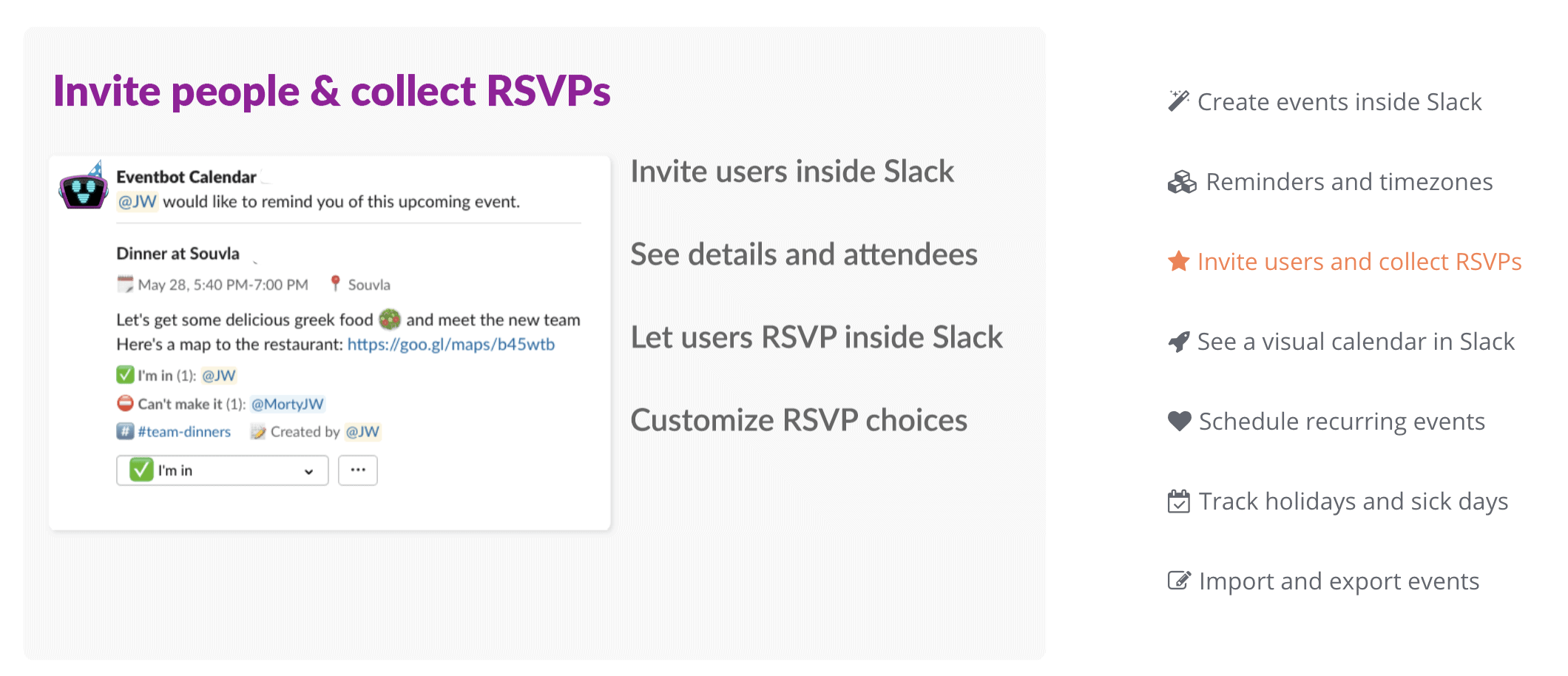 Eventbot Features