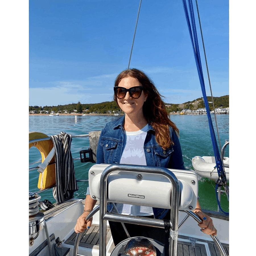 Ali Greene on a boat