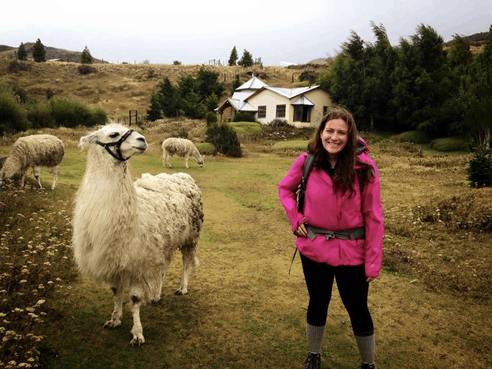 Ali Greene hiking with animals