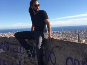 Neville sitting at the top of a wall looking at the city