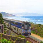 Amtrak train traveling though California