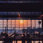 Sunset at Hamad International Airport, in Doha, Capital of Qatar