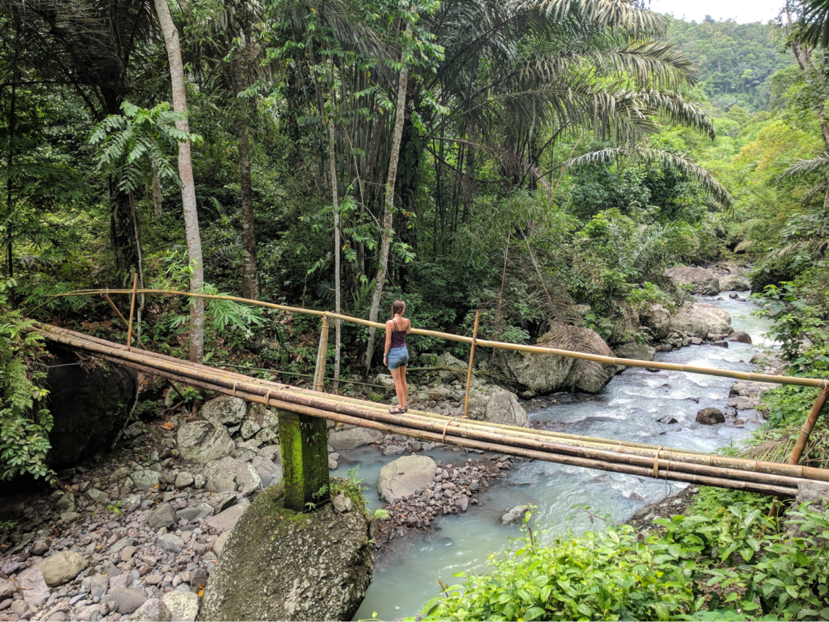 A woman stands on a bridge made of bamboo over a river in the jungle